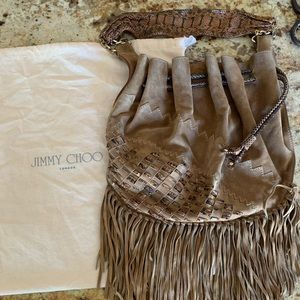 Jimmy Choo Tatum Fringe Suede Hobo Bag